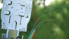 Os técnicos estão instalando a fibra ótica com cintas plásticas Fotografia de Stock