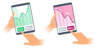 Os tablet pc com cartas dos preços de títulos nas telas foto de stock