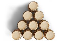 os tambores de madeira da ilustração 3D veem a parte superior, vinho isolado no fundo branco Bebida alcoólica em tambores de made Foto de Stock