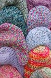 Os tampões coloridos de lãs Fotografia de Stock