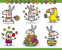 Os temas de Easter ajustaram a ilustração dos desenhos animados Fotografia de Stock Royalty Free