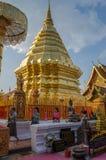 os Templo-frequentadores fazem uma caminhada da oração com Doi Suthep (a montagem dourada) Foto de Stock Royalty Free