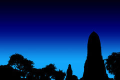 Os templos da silhueta ilustram meios fotografia de stock royalty free