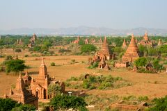 Os templos de Bagan no nascer do sol, Myanmar (Burma). Imagem de Stock