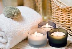 Os termas candles a composição imagens de stock