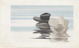 Os termas de relaxamento com água e as flores efetuam o vintage fotos de stock royalty free