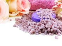 Os termas de sal do mar e a alfazema do sabão scent no fundo branco imagem de stock