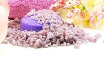 Os termas de sal do mar e a alfazema do sabão scent no foco seletivo do fundo branco imagem de stock