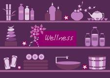 Os termas e o corpo importam-se ícones horizontalmente nos fundos violetas, vetor Imagens de Stock Royalty Free