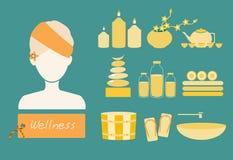 Os termas e o corpo importam-se o grupo do plano dos ícones, ilustrações do vetor Fotografia de Stock
