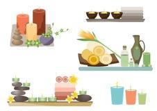 Os termas e o corpo importam-se o grupo do plano dos ícones, ilustrações do vetor Fotografia de Stock Royalty Free