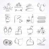 Os termas e relaxam ícones dos objetos Imagem de Stock