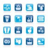 Os termas e relaxam ícones dos objetos Fotos de Stock Royalty Free