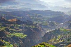 Os terraços pisados com manhã enevoam-se na garganta de Colca, Peru foto de stock
