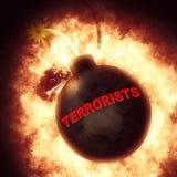 Os terroristas bombardeiam representam lutadores e explosões da liberdade Fotos de Stock