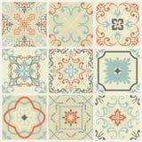 Os testes padrões abstratos do damasco ajustaram-se de nove sem emenda no estilo retro para o uso do projeto Ilustração do vetor ilustração royalty free