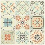 Os testes padrões abstratos do damasco ajustaram-se de nove sem emenda no estilo retro para o uso do projeto Ilustração do vetor ilustração do vetor