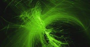 Os testes padrões abstratos no fundo escuro com linhas amarelas verdes curvam partículas filme