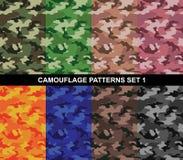 Os testes padrões da camuflagem ajustaram 1 - camuflagem simples Fotografia de Stock