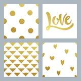 Os testes padrões do brilho do ouro ajustaram-se com vários fundo e escrita Fotos de Stock