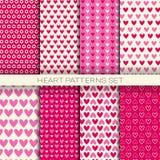 Os testes padrões do coração ajustaram fundos sem emenda para Valentine Day ilustração royalty free