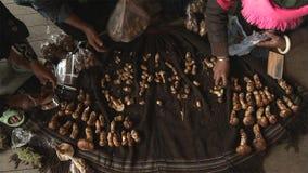 Os tibetanos estão procurando um matsutake de venda na vila de Jidi, sentam-se no centro da área da produção do matsutake em Shan fotos de stock royalty free