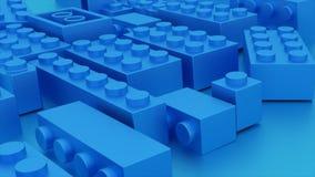 Os tijolos plásticos do lego azul brincam ilustração royalty free