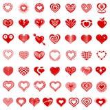 Os tipos ícones do logotipo do formulário do coração ajustaram-se, estilo simples Fotos de Stock