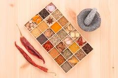 Os tipos de ervas picantes com especiarias aromáticas foram introduzidos na madeira a Fotos de Stock