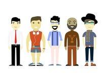 Os tipos de homens, caráteres diferentes, ajustaram a coleção, ilustração do vetor Imagem de Stock
