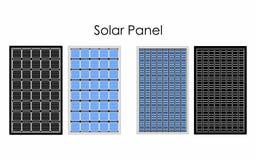 Os tipos de painel solar sem esboço e preto enchem-se ilustração stock