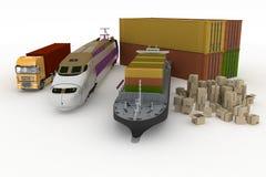 Os tipos de transporte do transporte são cargas Foto de Stock Royalty Free
