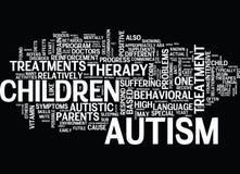 Os tipos diferentes de conceito da nuvem da palavra do fundo do texto do tratamento do autismo ilustração stock
