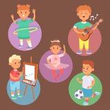 Os tipos diferentes do vetor do jogo de crianças de crianças dos jogos em casa jogam a atividade ativa exterior da infância do la Fotos de Stock Royalty Free