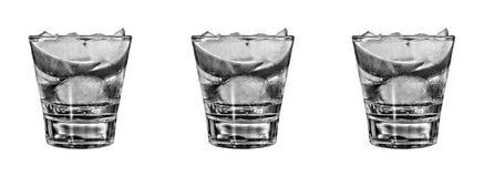 Os tiros do tequila do ouro com cal cortam em seguido isolado no branco Fotografia de Stock