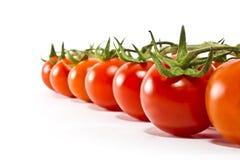 Os tomates de cereja alinharam um atrás do outro Fotos de Stock
