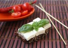 Os tomates de cereja frescos andgreen basílica e chees em varas do bambu do brinde Fotografia de Stock