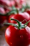 Os tomates de cereja frescos lavaram a agua potável Corte tomates frescos Fotos de Stock