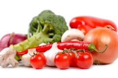 Tomates, alho e pimentões frescos Fotos de Stock Royalty Free