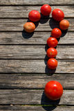 Os tomates gostam da pergunta Foto de Stock