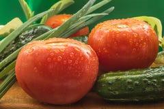 Os tomates vermelhos maduros, pepinos verdes, penas da cebola verde são cobertos com as grandes gotas da água Imagem de Stock Royalty Free