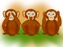 Os três macacos sábios ilustração royalty free