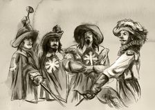 Os três mosqueteiros Uma ilustração tirada mão Drawi a mão livre ilustração royalty free