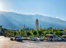 Os três pagodes do templo de Chongsheng Dali, China Fotografia de Stock