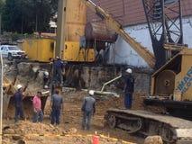 Os trabalhadores da construção situam em Caracas Imagens de Stock