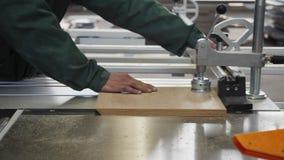 Os trabalhadores da oficina usam a máquina de madeira industrial da serra filme
