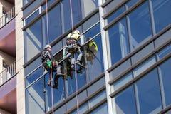 Os trabalhadores do arranha-céus com equipamento de escalada mudam a janela na construção alta foto de stock