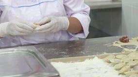 Os trabalhadores fêmeas nas luvas brancas envolvem a carne na massa Fazendo bolinhos de massa Fábrica video estoque