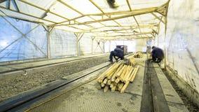 Os trabalhadores fazem a limpeza da linha do bonde da estrada de ferro após obras filme
