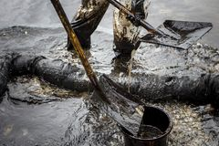 Os trabalhadores removem o óleo bruto de uma praia Fotografia de Stock